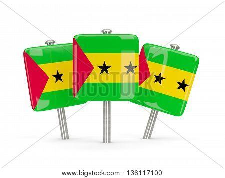 Flag Of Sao Tome And Principe, Three Square Pins