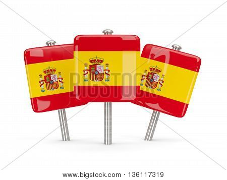 Flag Of Spain, Three Square Pins