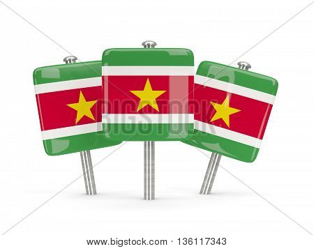 Flag Of Suriname, Three Square Pins
