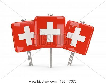 Flag Of Switzerland, Three Square Pins