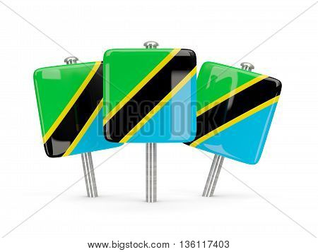 Flag Of Tanzania, Three Square Pins