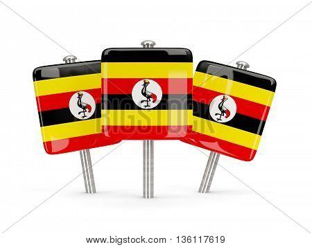 Flag Of Uganda, Three Square Pins
