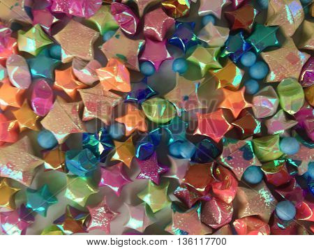 Colorful of origami stars group used for background or festival day.