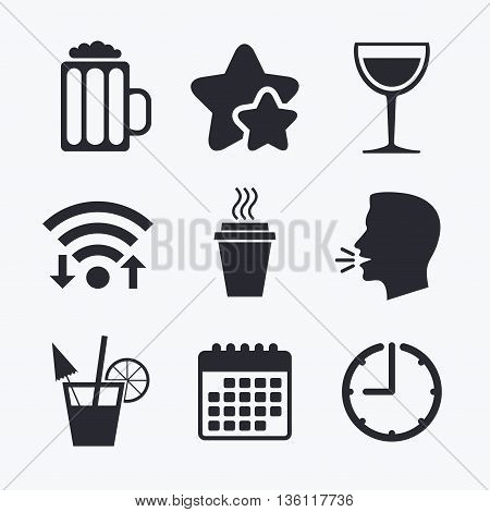Drinks icons. Take away coffee cup and glass of beer symbols. Wine glass and cocktail signs. Wifi internet, favorite stars, calendar and clock. Talking head. Vector