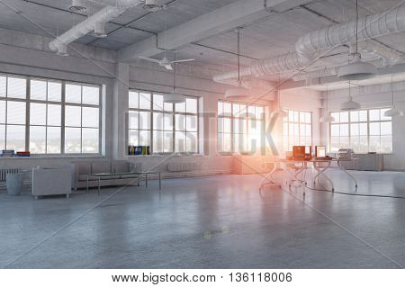 Elegant office interior . Mixed media