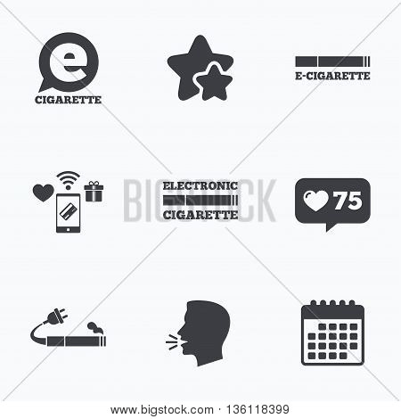 E-Cigarette with plug icons. Electronic smoking symbols. Speech bubble sign. Flat talking head, calendar icons. Stars, like counter icons. Vector