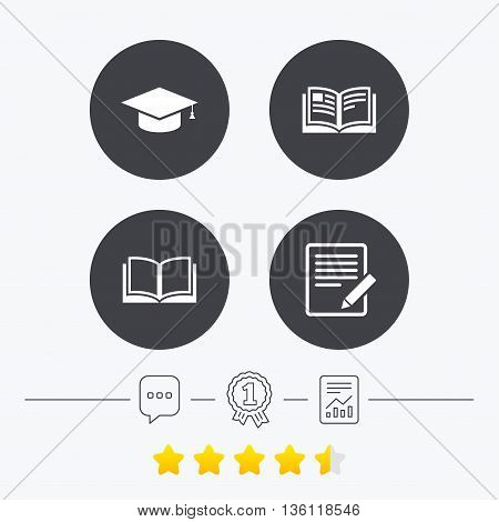 Pencil with document and open book icons. Graduation cap symbol. Higher education learn signs. Chat, award medal and report linear icons. Star vote ranking. Vector