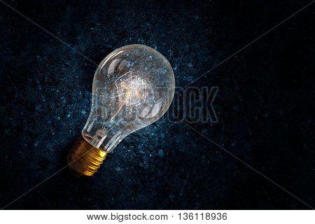Light bulb on soil . Mixed media