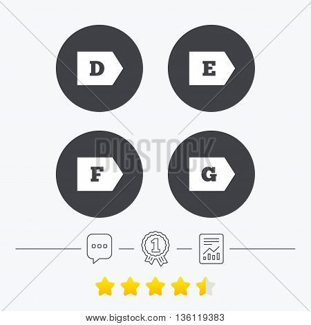 Energy efficiency class icons. Energy consumption sign symbols. Class D, E, F and G. Chat, award medal and report linear icons. Star vote ranking. Vector