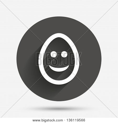 Smile Easter egg face sign icon. Happy smiley chat symbol. Circle flat button with shadow. Vector