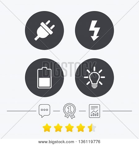 Electric plug icon. Light lamp and battery half symbols. Low electricity and idea signs. Chat, award medal and report linear icons. Star vote ranking. Vector