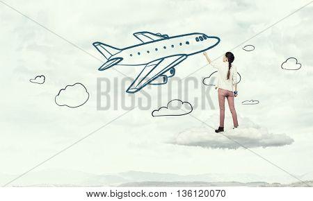 She likes traveling . Mixed media