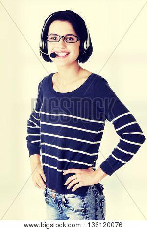 Closeup of attractive customer support representative