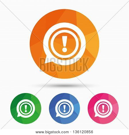 Exclamation mark sign icon. Attention speech bubble symbol. Triangular low poly button with flat icon. Vector