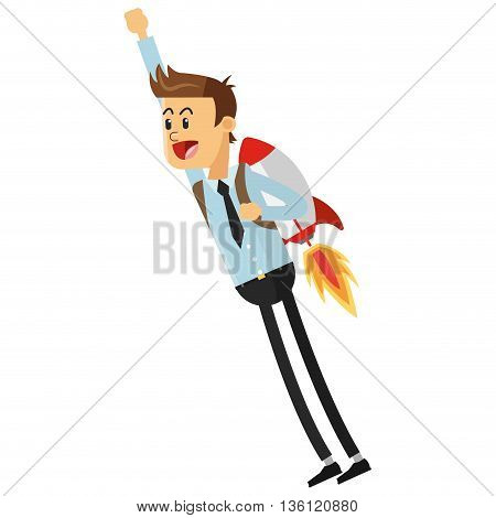 flat design flying businessman with jetpack vector illustration