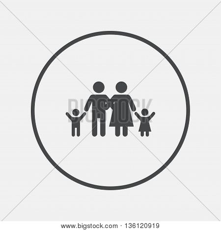 Family icon. Parents with children symbol. Family insurance. Round button with flat icon. Vector