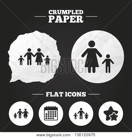 Crumpled paper speech bubble. Family with two children icon. Parents and kids symbols. One-parent family signs. Mother and father divorce. Paper button. Vector