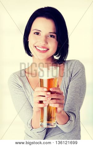Beautiful  young woman with beer