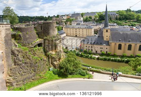 Abbaye de Neumunster in Luxembourg. Top view.