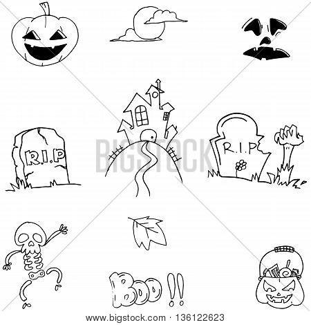 Doodle Halloween flat element vector art illustration