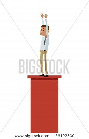 flat design goofy businessman standing on platform icon vector illustration
