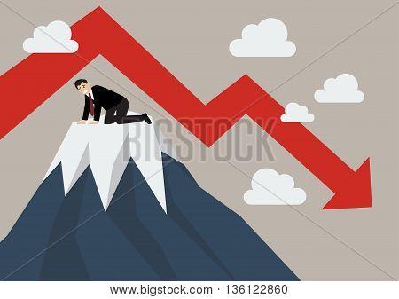 Businessman stuck on a top hill. Business concept poster