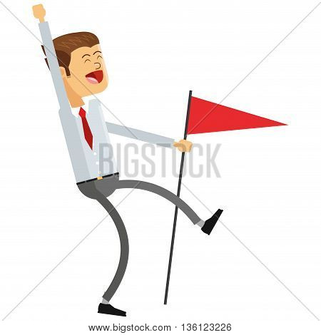 flat design goofy businessman holding flag icon vector illustration