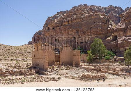 Petra, Jordan. View To The Temple Qasr Al-bint.