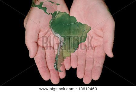 Painted Map Of South America In Our Hands