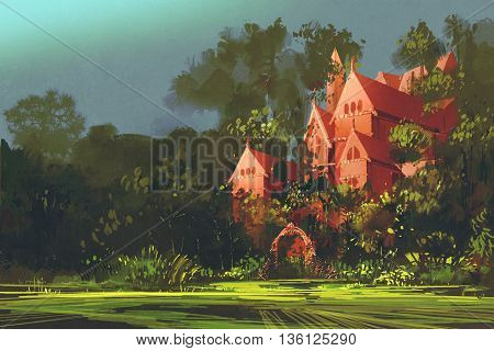 red mansion in the woods, illustration painting