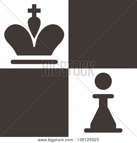 Silhouette of a chess piece - chess king and pawn icon