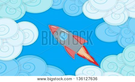Abstract background image with clouds and flying missile material design