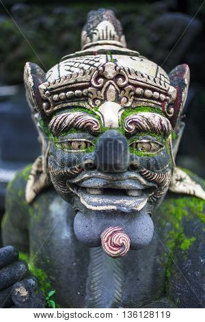 traditional balinese statue on bali, indonesia. Selective focus