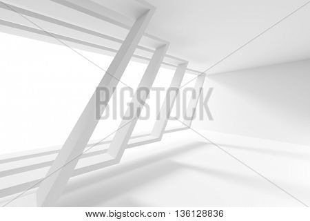 White Building Construction. Abstract Futuristic Architecture Background. Minimal Office Interior Design. Empty Room with Window. Geometric Shapes Structure. 3d Render