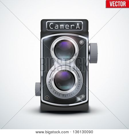 Vintage twin lens reflex camera with closed viewfinder. Front view. Realistic retro design of medium format camera. Vector Illustration isolated on white background.