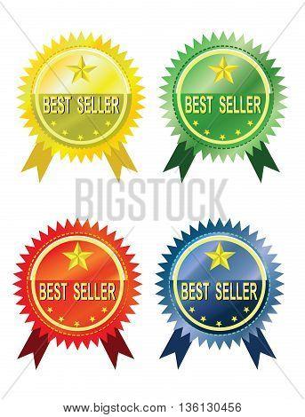 Vector - Bestseller label set four color