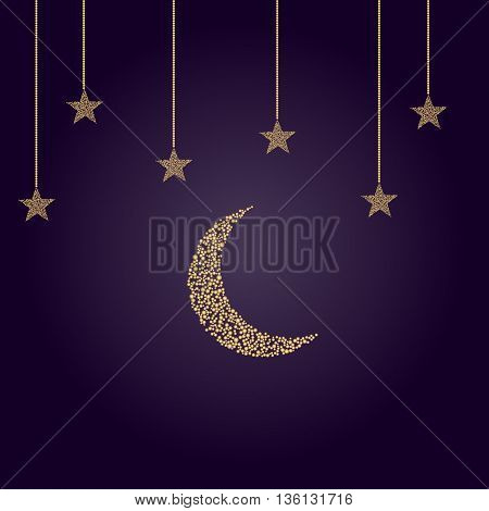 crescent moon with stars in limbo on blue-violet background