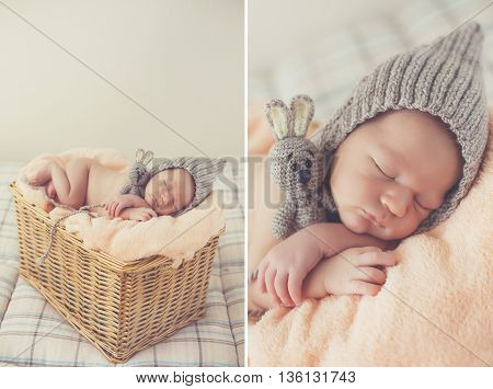 A collage of two photos-newborn baby sleep in a knitted hat:baby on a pink blanket in a knitted cap of gray,his feet tucked under him,put the stick under his cheek,asleep in a wicker basket on a gray background hugging a toy rabbit