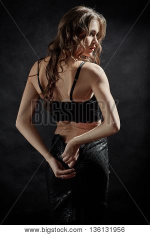 luxury woman in lingerie undressing toned image