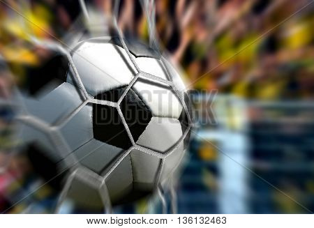 Ball in Goal Net with fast blur motion