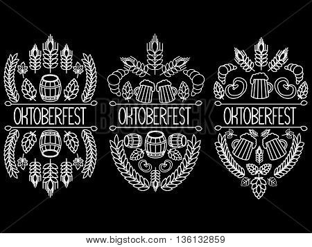 Oktoberfest. Three drawings on a black background. hand drawn label elements.