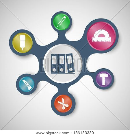 Stationery infographic templates with connected metaballs, stock vector