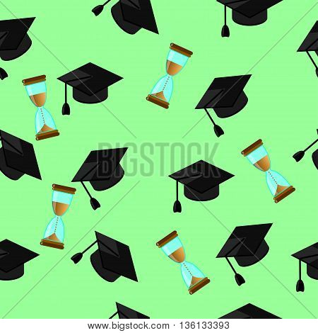 Seamless pattern of random caps graduations and hourglass on a pale green background. Higher education celebration anniversary symbol pattern.