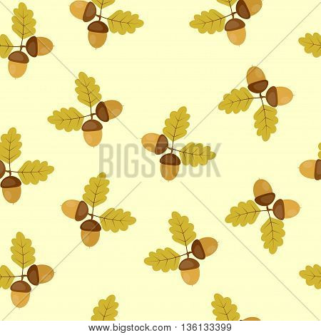 seamless texture acorns on a green background. Perfect for wallpapers, wrapping papers, pattern fills, textile, autumn greeting cards, Thanksgiving Day cards