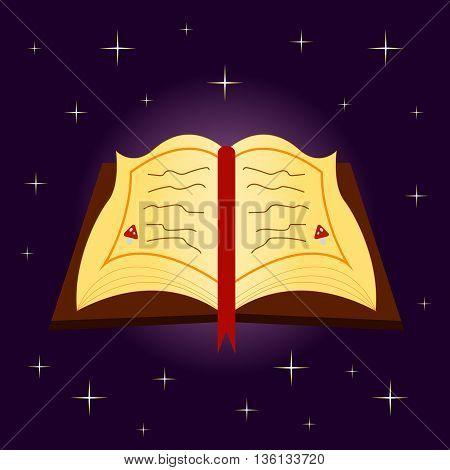 spellbook on Halloween on a purple background with stars