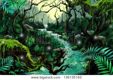 Watercolor Style Digital Artwork: Mystery River Forest. Realistic Fantastic Cartoon Style Character, Background, Wallpaper, Story, Card Design