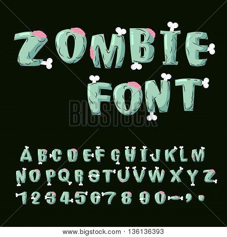 Zombie Font. Bones And Brains. Living Dead Alphabet. Green Terrible Letter. Horror Abc. Sinister Let