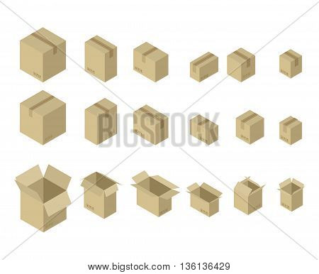 Cardboard Box Isometrics Set. Different Variants Of Shape And Size Of Paper Packaging