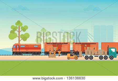 Freight train cargo cars. Container and box freight train cars. Logistics heavy railway transport design elements. Flat style vector illustration.