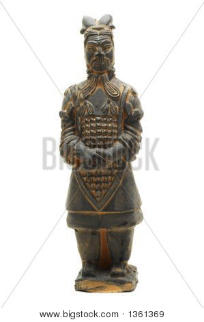 Terracotta Warrior #1 Of Oin Dynasty (Isolated On White)